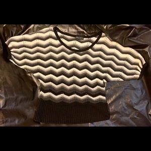 Yarn Art Pullover Sweater Black, Gray, & White S/M